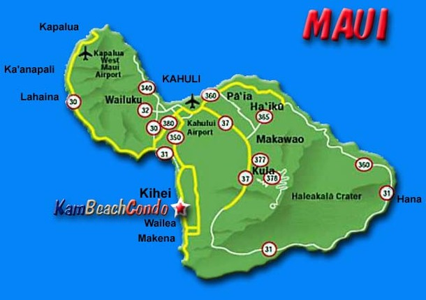 Airports In Maui Hawaii Map.Kambeachcondo 3 Br Partial Ocean View Beach Condos In Kihei